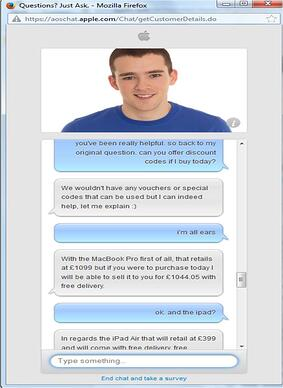 Apple UK live chat support dialogue window