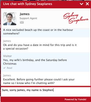 Sydney Seaplanes Yomdel Live Chat